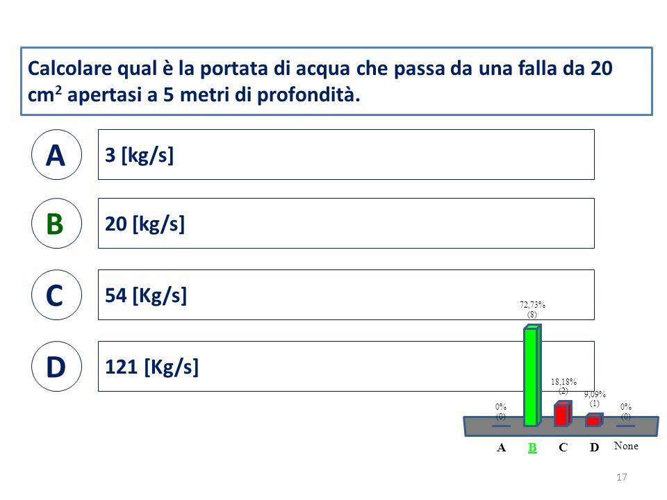 Calcolare qual è la portata di acqua che passa da una falla da 20 cm 2 apertasi a 5 metri di profondità.
