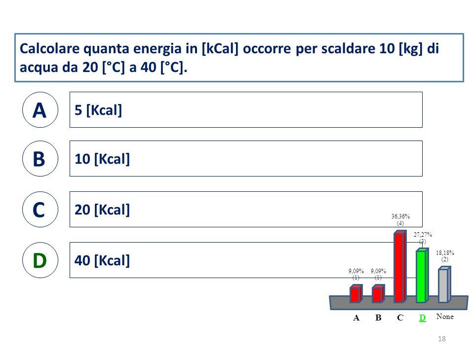 Calcolare quanta energia in [kCal] occorre per scaldare 10 [kg] di acqua da 20 [°C] a 40 [°C].
