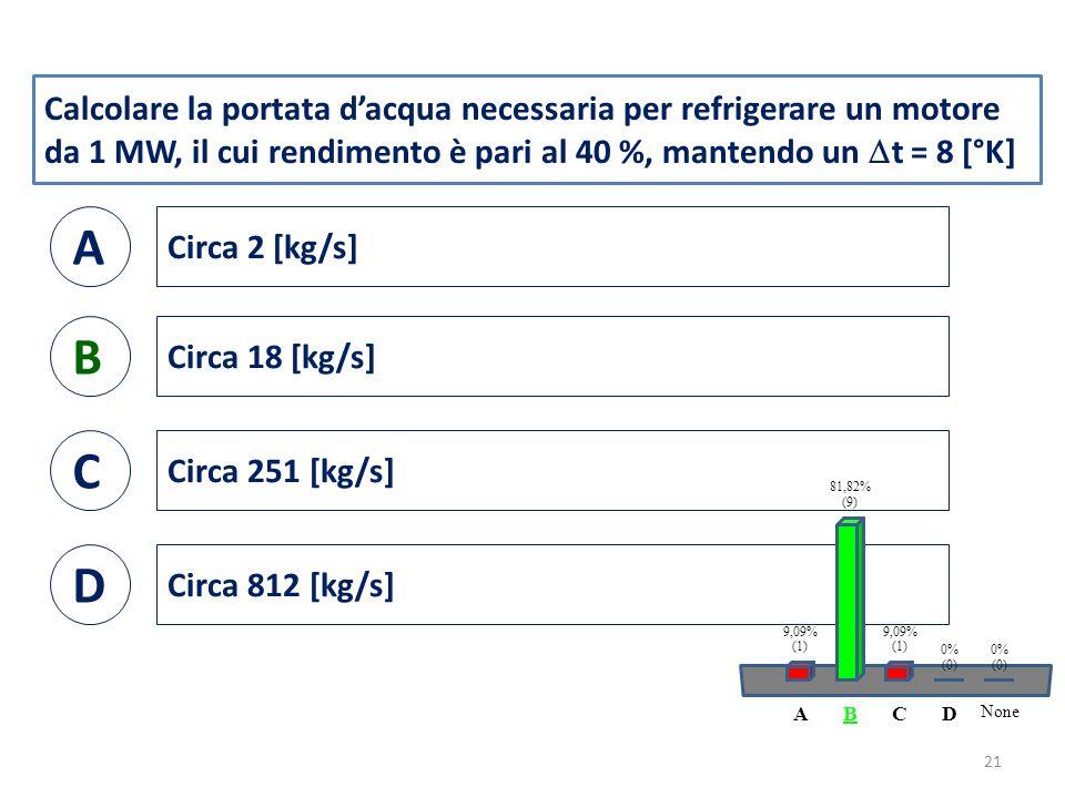 Calcolare la portata d'acqua necessaria per refrigerare un motore da 1 MW, il cui rendimento è pari al 40 %, mantendo un  t = 8 [°K] A Circa 2 [kg/s] B Circa 18 [kg/s] C Circa 251 [kg/s] D Circa 812 [kg/s] 21 ABCD None 9,09% (1) 81,82% (9) 9,09% (1) 0% (0) 0% (0)