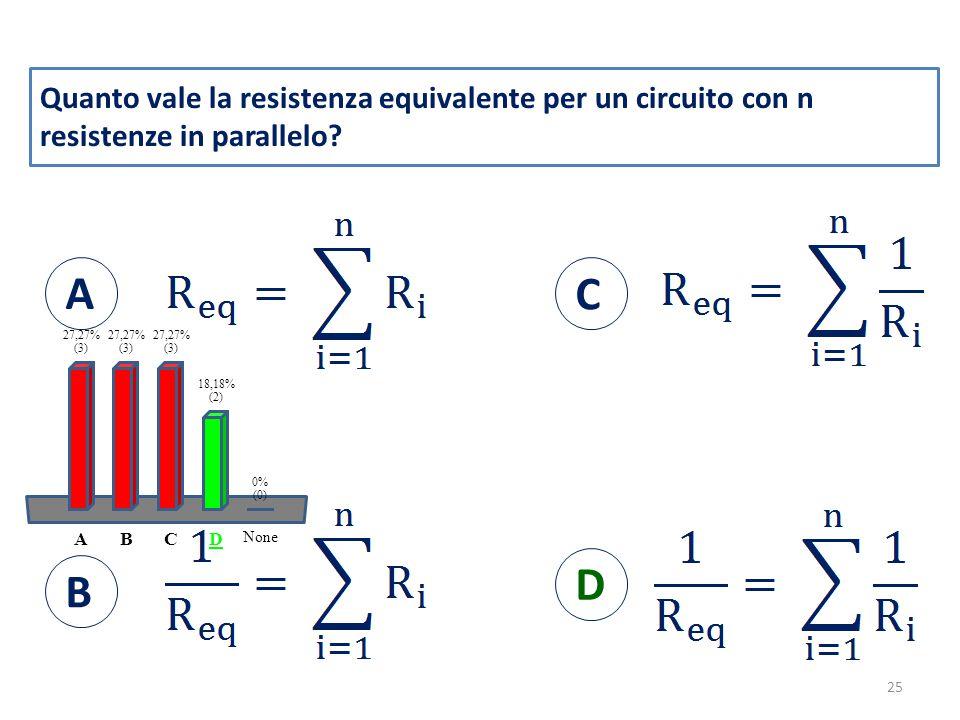 Quanto vale la resistenza equivalente per un circuito con n resistenze in parallelo.