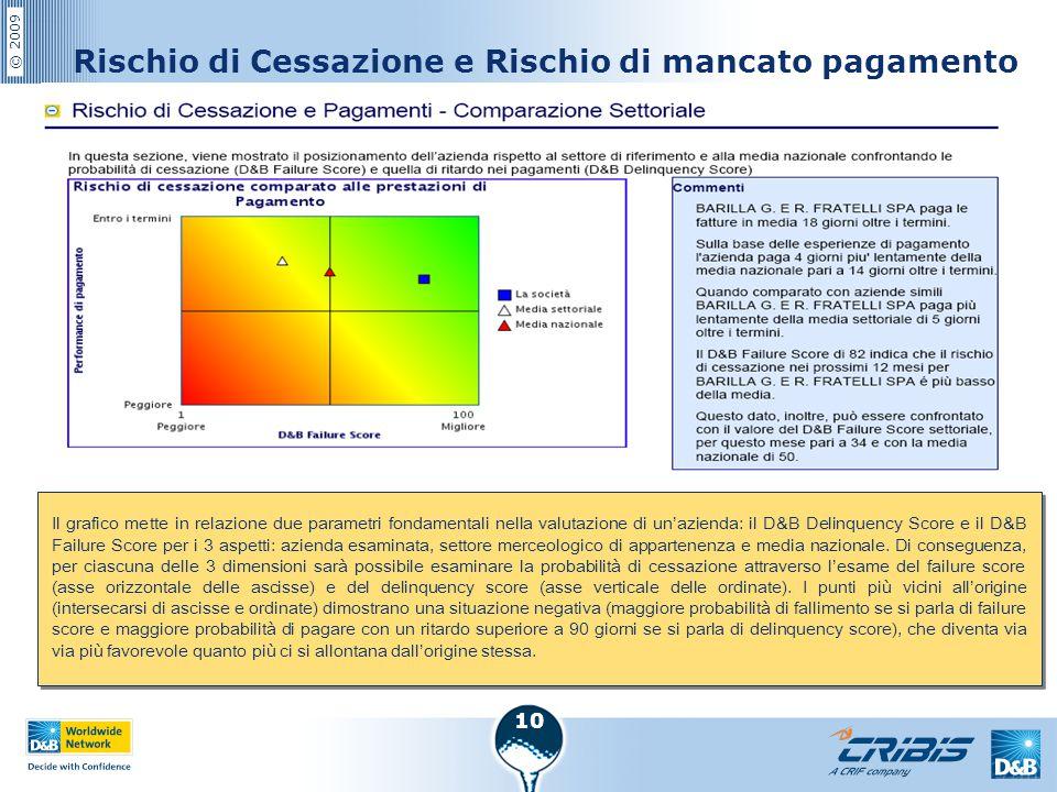 © 2009 10 Rischio di Cessazione e Rischio di mancato pagamento Il grafico mette in relazione due parametri fondamentali nella valutazione di un'aziend