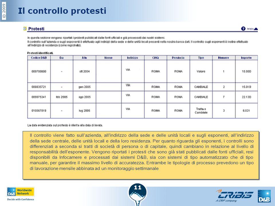 © 2009 11 Il controllo protesti Il controllo viene fatto sull'azienda, all'indirizzo della sede e delle unità locali e sugli esponenti, all'indirizzo