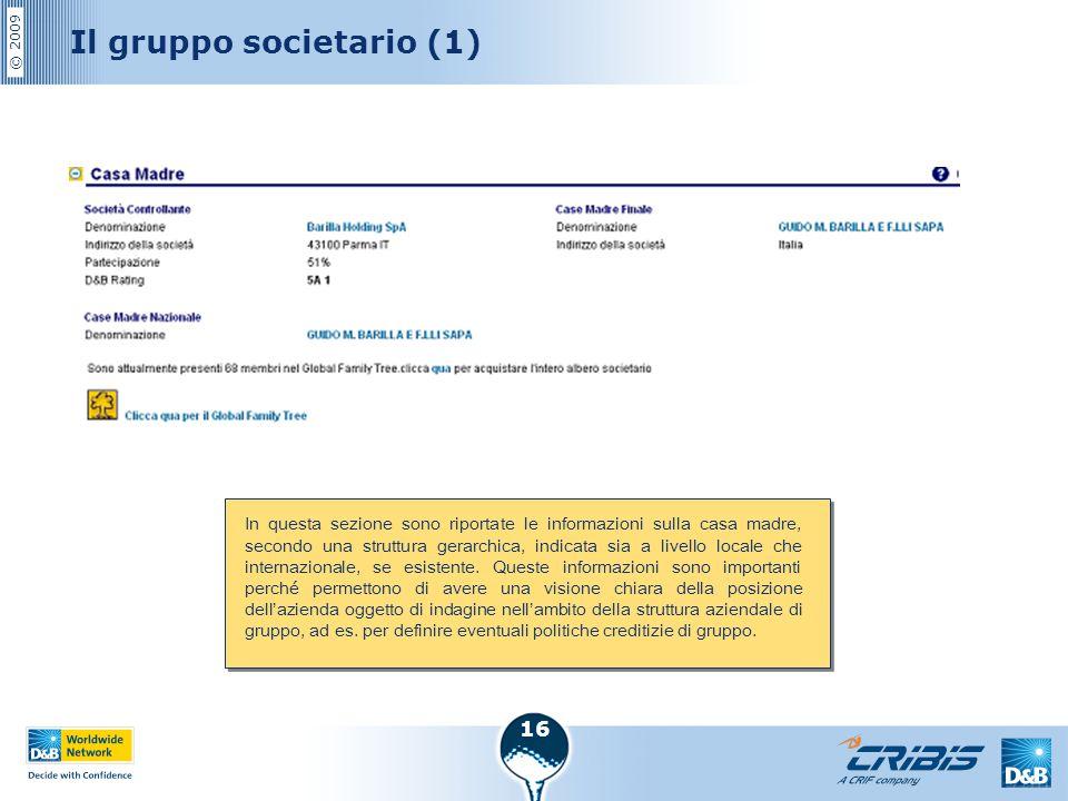 © 2009 16 Il gruppo societario (1) In questa sezione sono riportate le informazioni sulla casa madre, secondo una struttura gerarchica, indicata sia a