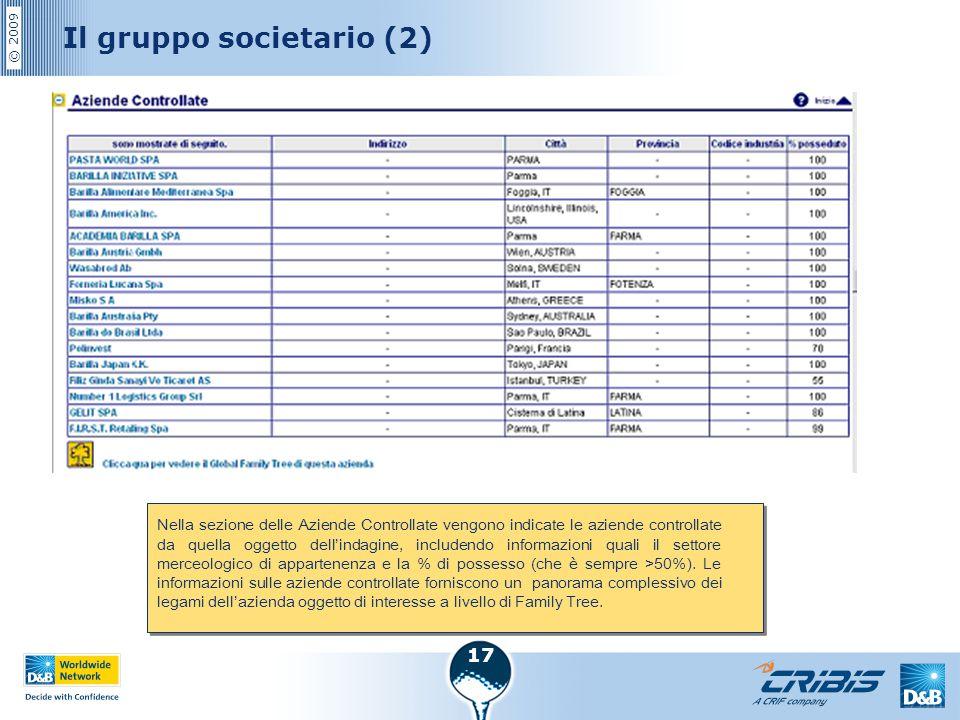 © 2009 17 Il gruppo societario (2) Nella sezione delle Aziende Controllate vengono indicate le aziende controllate da quella oggetto dell'indagine, in