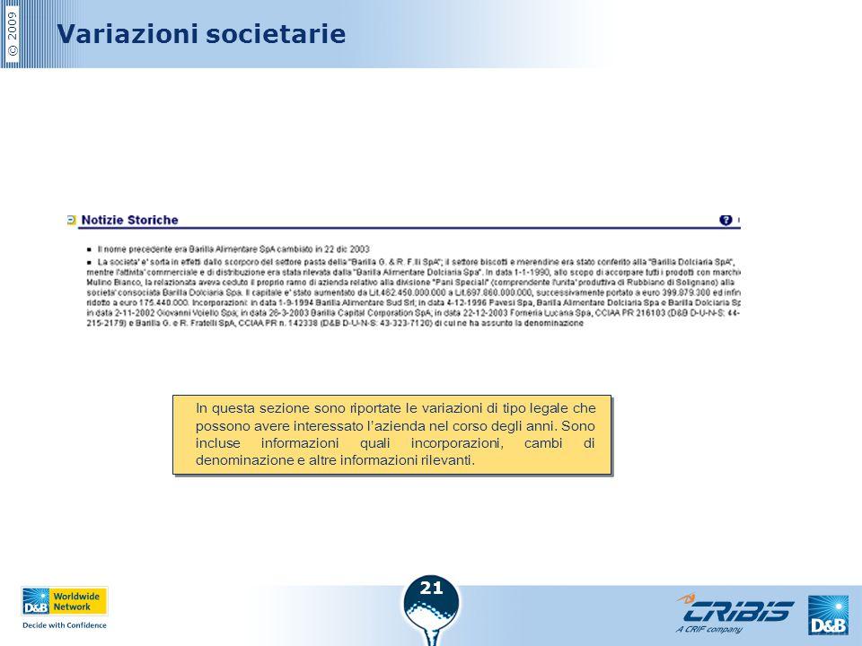 © 2009 21 Variazioni societarie In questa sezione sono riportate le variazioni di tipo legale che possono avere interessato l'azienda nel corso degli