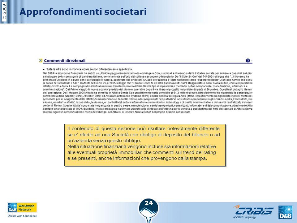 © 2009 24 Approfondimenti societari Il contenuto di questa sezione può risultare notevolmente differente se e' riferito ad una Società con obbligo di