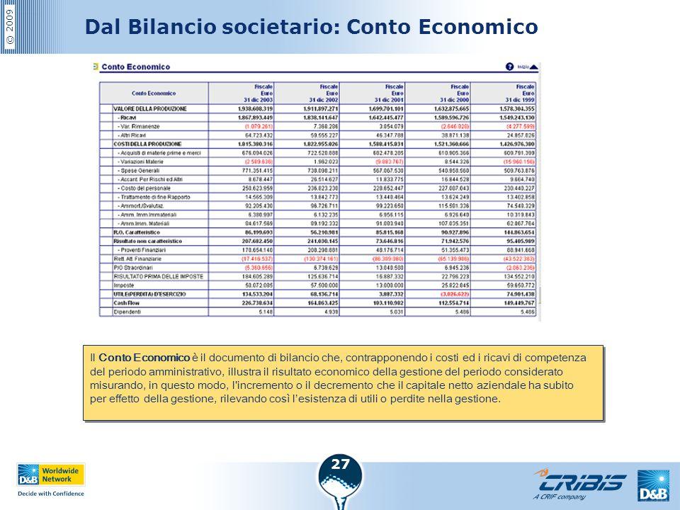 © 2009 27 Dal Bilancio societario: Conto Economico Il Conto Economico è il documento di bilancio che, contrapponendo i costi ed i ricavi di competenza