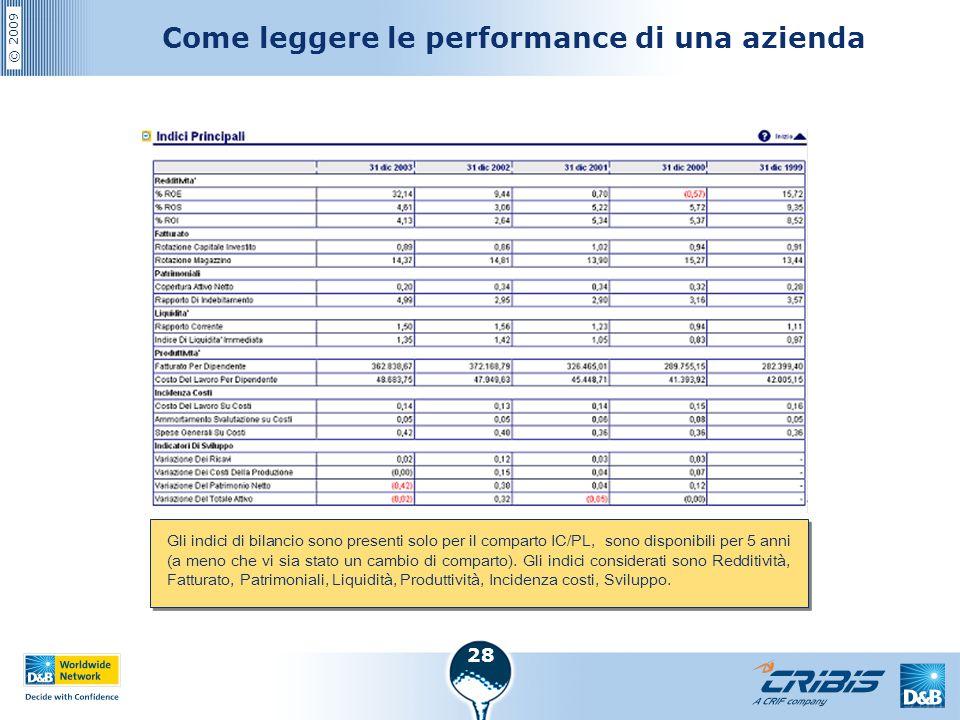 © 2009 28 Come leggere le performance di una azienda Gli indici di bilancio sono presenti solo per il comparto IC/PL, sono disponibili per 5 anni (a m