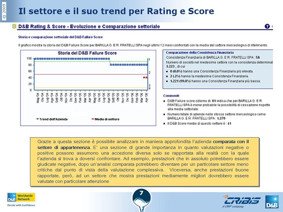 © 2009 7 Il settore e il suo trend per Rating e Score Grazie a questa sezione è possibile analizzare in maniera approfondita l'azienda comparata con i