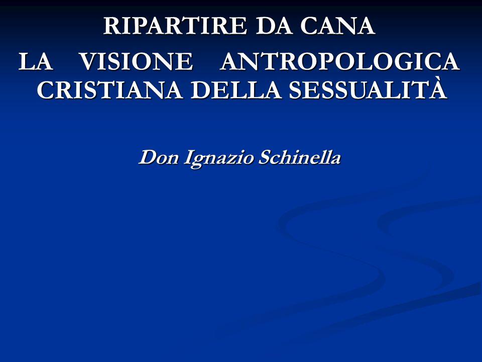 RIPARTIRE DA CANA LA VISIONE ANTROPOLOGICA CRISTIANA DELLA SESSUALITÀ Don Ignazio Schinella