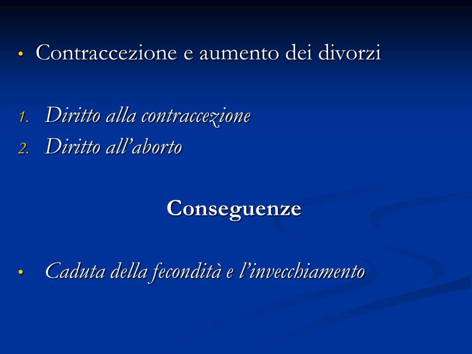 Contraccezione e aumento dei divorzi Contraccezione e aumento dei divorzi 1. Diritto alla contraccezione 2. Diritto all'aborto Conseguenze Caduta dell
