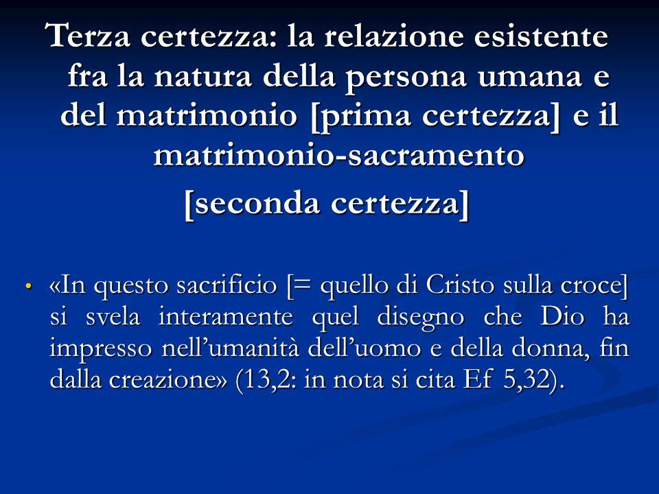 Terza certezza: la relazione esistente fra la natura della persona umana e del matrimonio [prima certezza] e il matrimonio-sacramento [seconda certezz