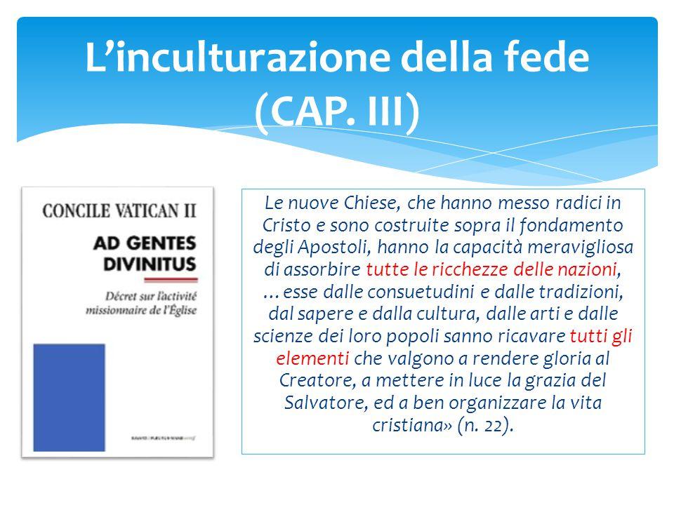 L'inculturazione della fede (CAP.