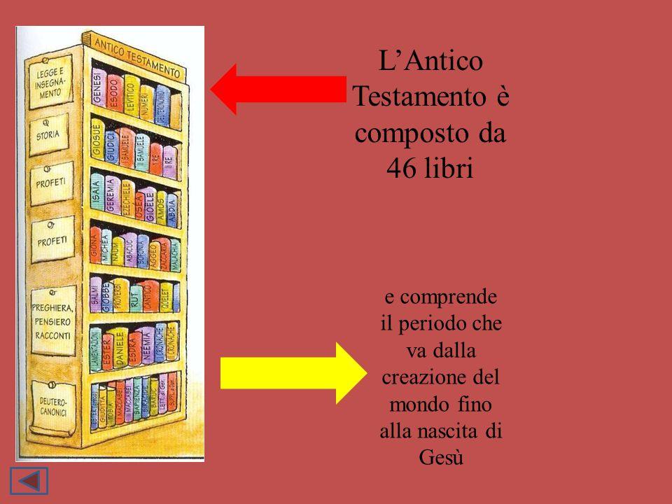 L'Antico Testamento è composto da 46 libri e comprende il periodo che va dalla creazione del mondo fino alla nascita di Gesù