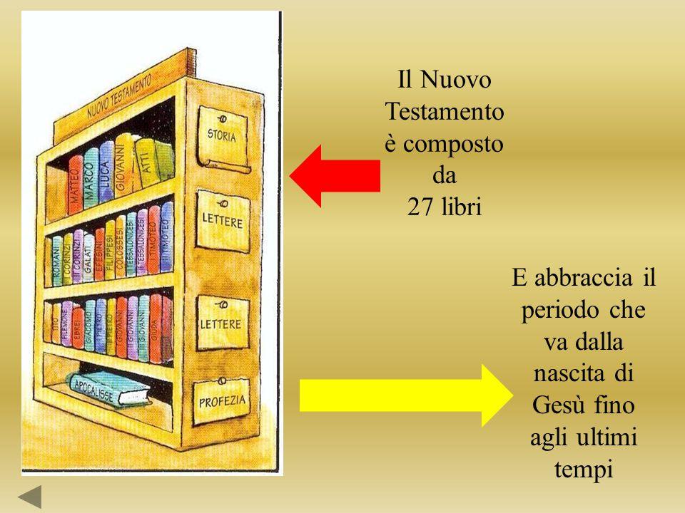 Il Nuovo Testamento è composto da 27 libri E abbraccia il periodo che va dalla nascita di Gesù fino agli ultimi tempi