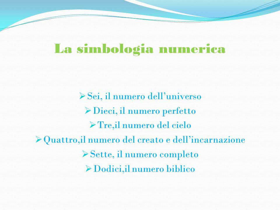 La simbologia numerica  Sei, il numero dell'universo  Dieci, il numero perfetto  Tre,il numero del cielo  Quattro,il numero del creato e dell'incarnazione  Sette, il numero completo  Dodici,il numero biblico
