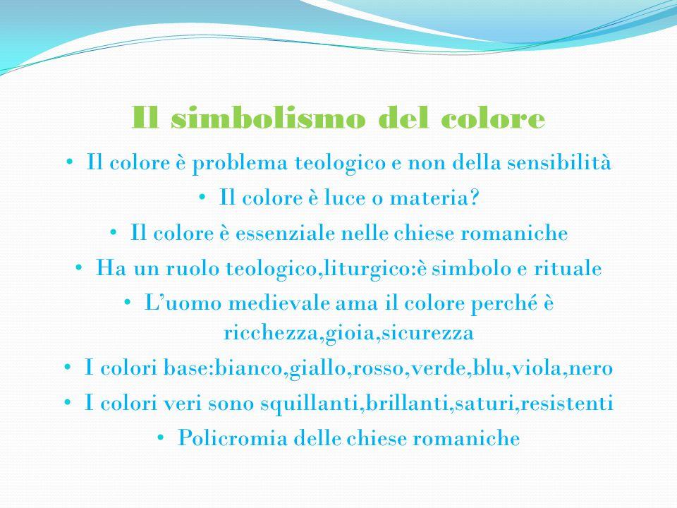 Il simbolismo del colore Il colore è problema teologico e non della sensibilità Il colore è luce o materia.