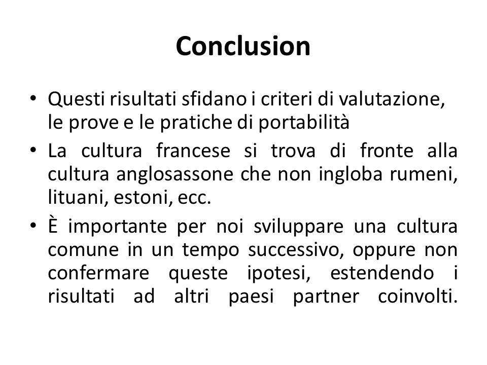 Conclusion Questi risultati sfidano i criteri di valutazione, le prove e le pratiche di portabilità La cultura francese si trova di fronte alla cultura anglosassone che non ingloba rumeni, lituani, estoni, ecc.