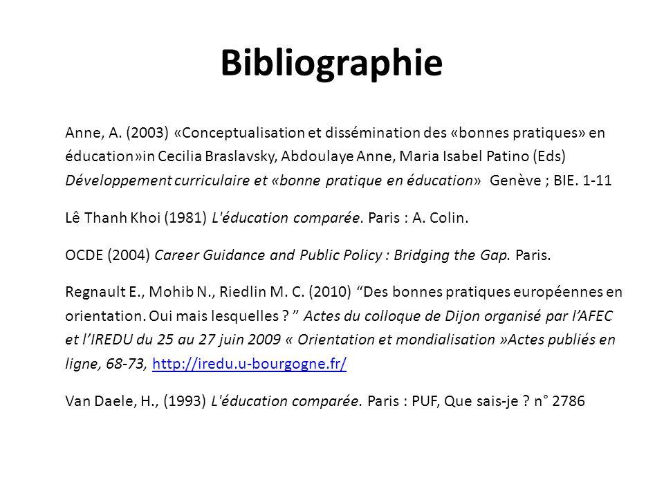 Bibliographie Anne, A. (2003) «Conceptualisation et dissémination des «bonnes pratiques» en éducation»in Cecilia Braslavsky, Abdoulaye Anne, Maria Isa