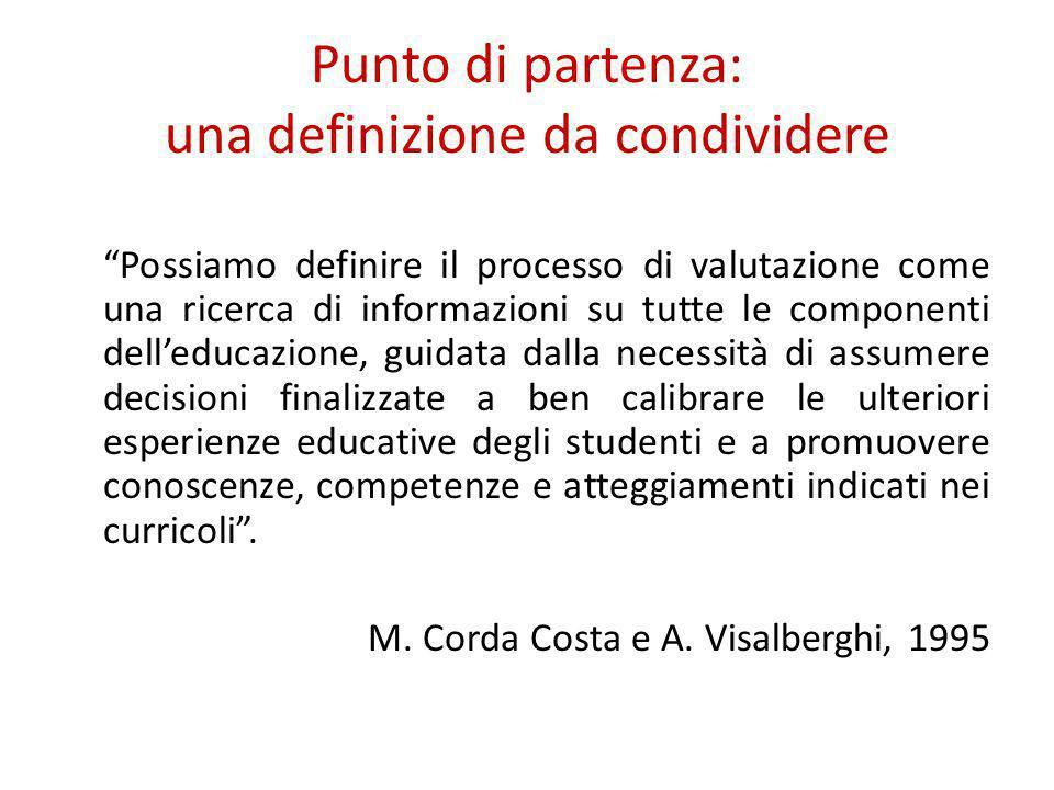 """Punto di partenza: una definizione da condividere """"Possiamo definire il processo di valutazione come una ricerca di informazioni su tutte le component"""