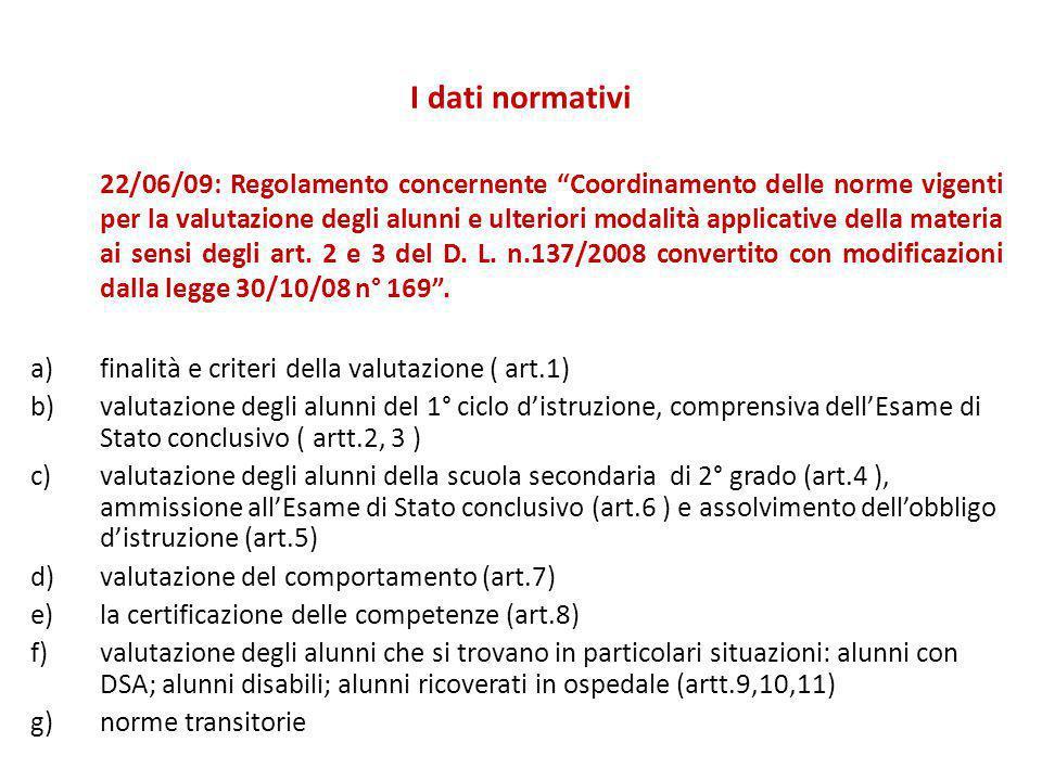 """I dati normativi 22/06/09: Regolamento concernente """"Coordinamento delle norme vigenti per la valutazione degli alunni e ulteriori modalità applicative"""