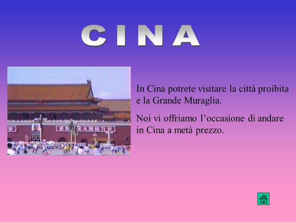 In Cina potrete visitare la città proibita e la Grande Muraglia.