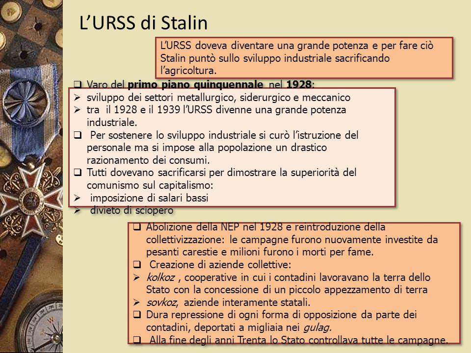 L'URSS di Stalin  Varo del primo piano quinquennale nel 1928:  sviluppo dei settori metallurgico, siderurgico e meccanico  tra il 1928 e il 1939 l'