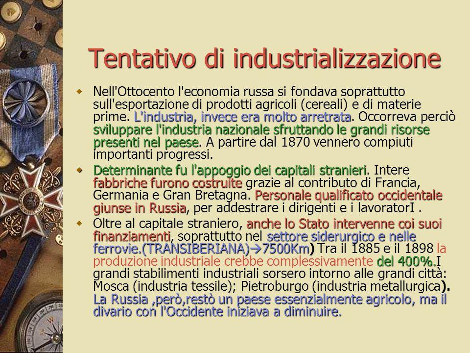 Tentativo di industrializzazione L'industria, invece era molto arretrata sviluppare l'industria nazionale sfruttando le grandi risorse presenti nel pa