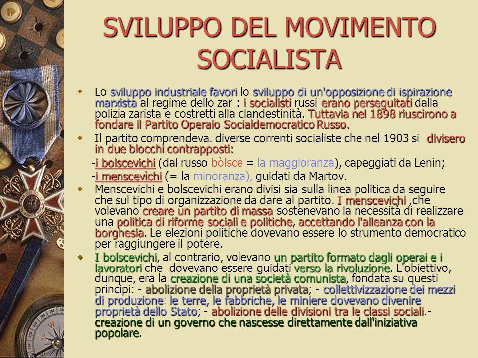 SVILUPPO DEL MOVIMENTO SOCIALISTA sviluppo industriale favorisviluppo di un'opposizione di ispirazione marxistai socialistierano perseguitati Tuttavia