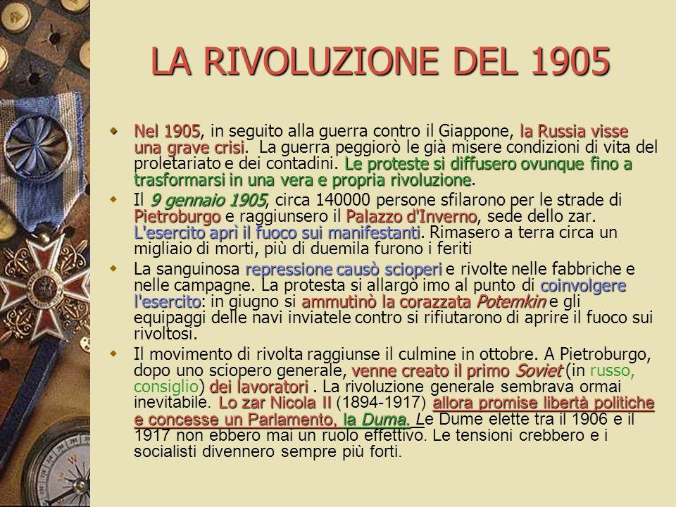 LA RIVOLUZIONE DEL 1905  Nel 1905la Russia visse una grave crisi Le proteste si diffusero ovunque fino a trasformarsi in una vera e propria rivoluzio