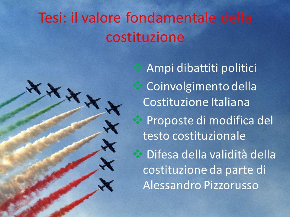 Tesi: il valore fondamentale della costituzione  Ampi dibattiti politici  Coinvolgimento della Costituzione Italiana  Proposte di modifica del test