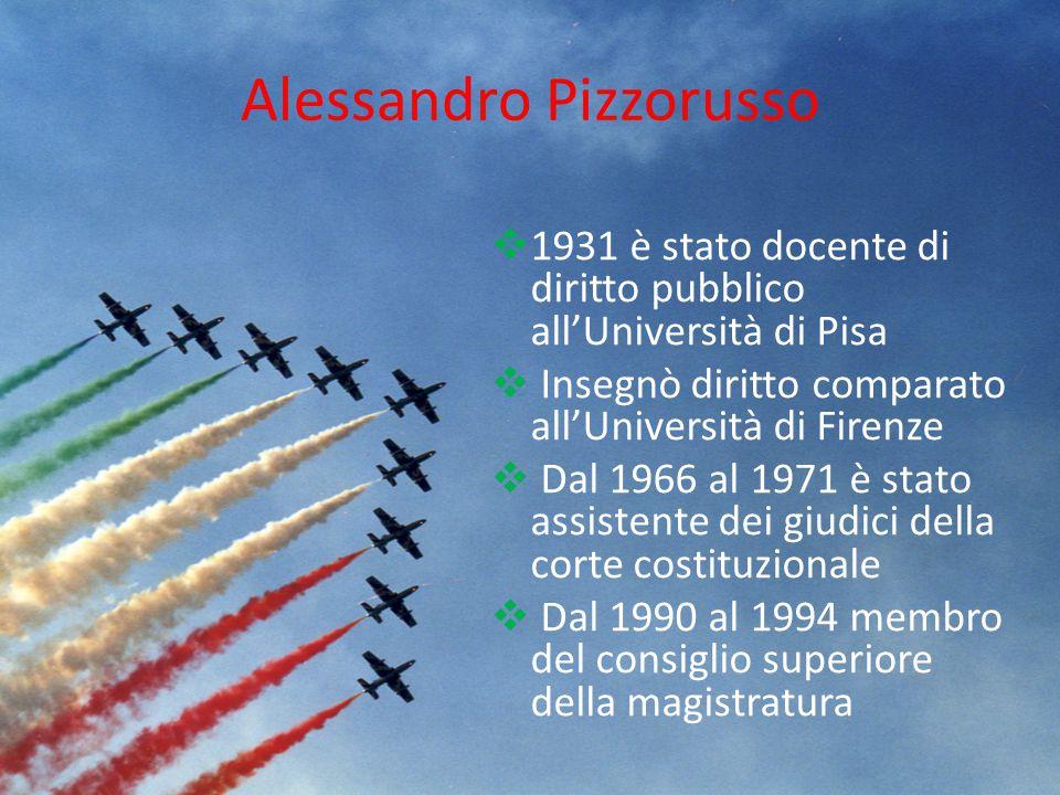 Alessandro Pizzorusso  1931 è stato docente di diritto pubblico all'Università di Pisa  Insegnò diritto comparato all'Università di Firenze  Dal 19
