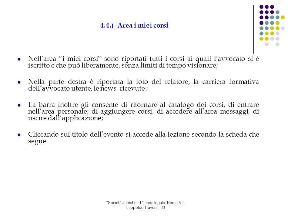Società Juribit s.r.l. sede legale: Roma Via Leopoldo Traversi, 33 4.5.) Scheda corso 1.1.