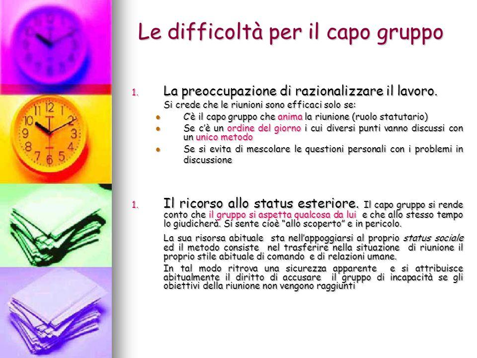 Le difficoltà per il capo gruppo (continua) 1.
