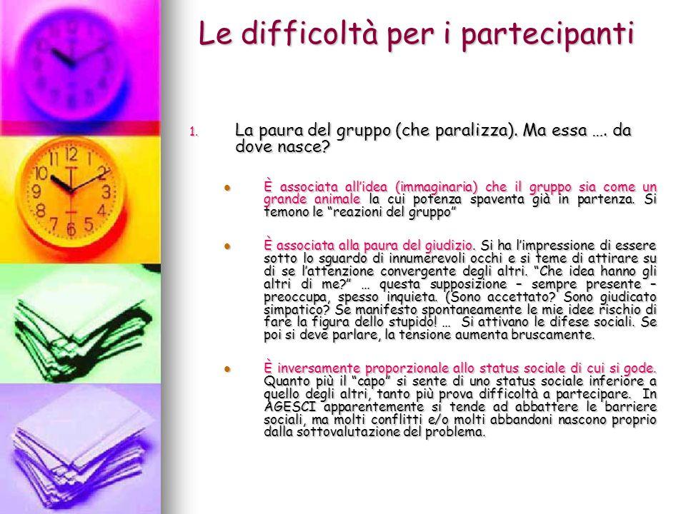 Le difficoltà per i partecipanti (segue) 1.