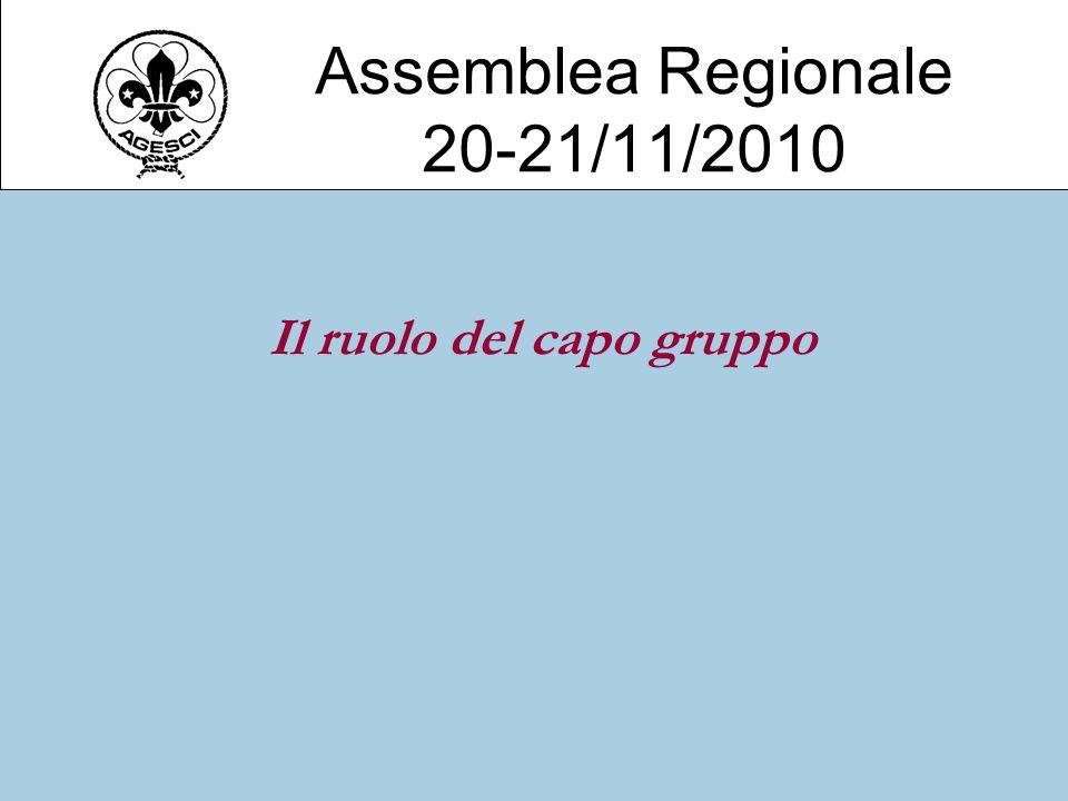 Assemblea Regionale 20-21/11/2010 Il ruolo del capo gruppo
