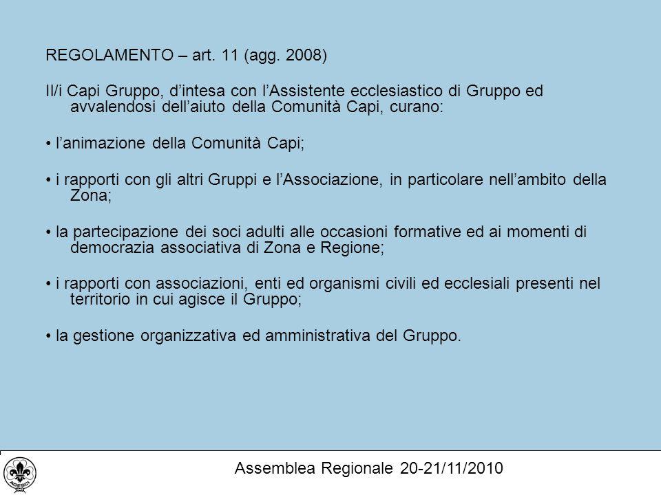REGOLAMENTO – art. 11 (agg.