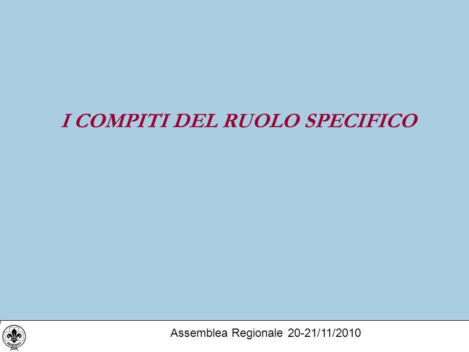 I COMPITI DEL RUOLO SPECIFICO Assemblea Regionale 20-21/11/2010