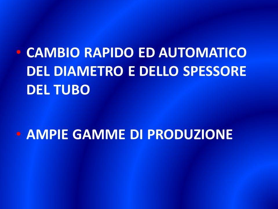 CAMBIO RAPIDO ED AUTOMATICO DEL DIAMETRO E DELLO SPESSORE DEL TUBO AMPIE GAMME DI PRODUZIONE
