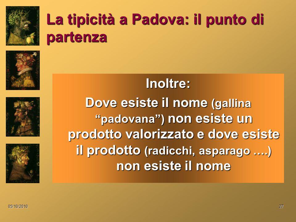 05/10/201027 La tipicità a Padova: il punto di partenza Inoltre: Dove esiste il nome (gallina padovana ) non esiste un prodotto valorizzato e dove esiste il prodotto (radicchi, asparago ….) non esiste il nome