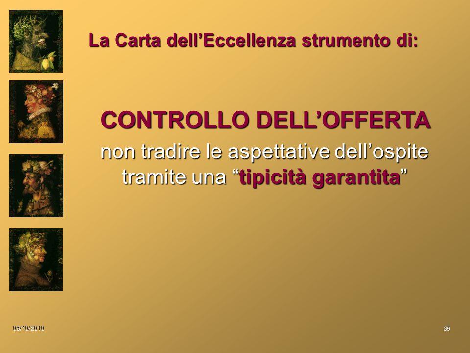 05/10/201039 CONTROLLO DELL'OFFERTA non tradire le aspettative dell'ospite tramite una tipicità garantita La Carta dell'Eccellenza strumento di: