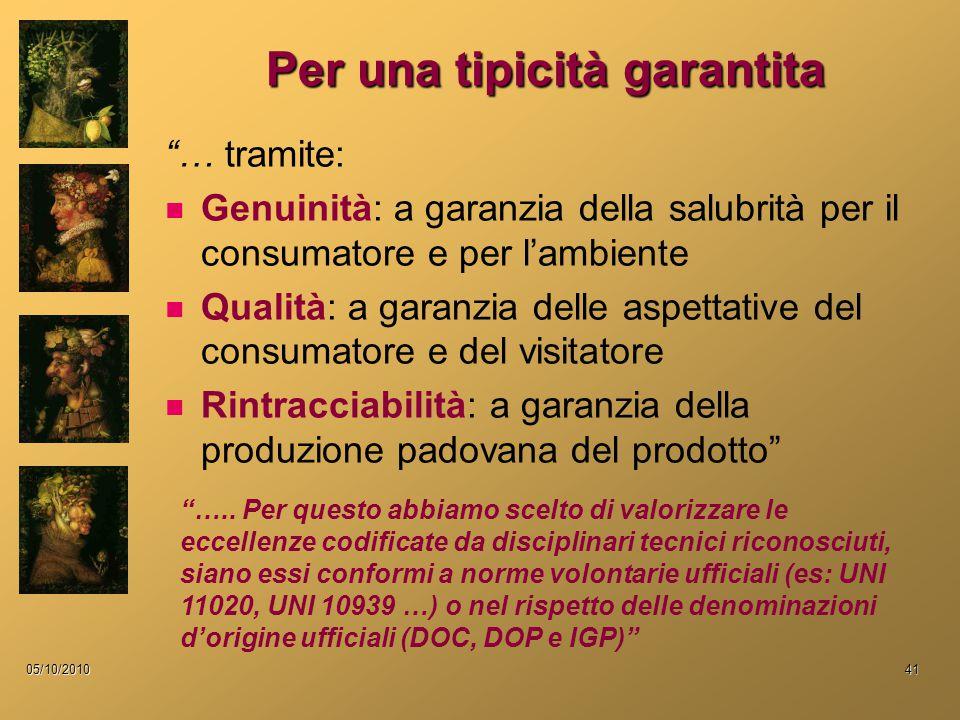 """05/10/201041 Per una tipicità garantita """"… tramite: Genuinità: a garanzia della salubrità per il consumatore e per l'ambiente Qualità: a garanzia dell"""