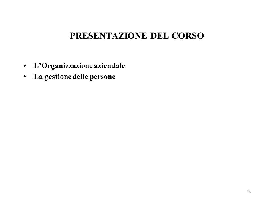 2 PRESENTAZIONE DEL CORSO L'Organizzazione aziendale La gestione delle persone