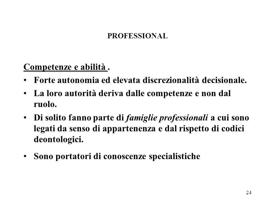24 PROFESSIONAL Competenze e abilità. Forte autonomia ed elevata discrezionalità decisionale.