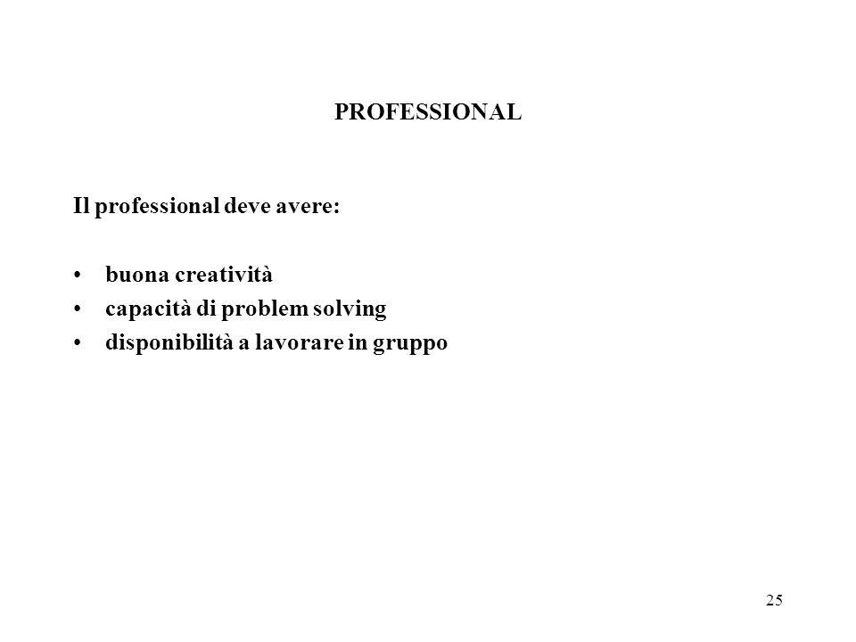 25 PROFESSIONAL Il professional deve avere: buona creatività capacità di problem solving disponibilità a lavorare in gruppo