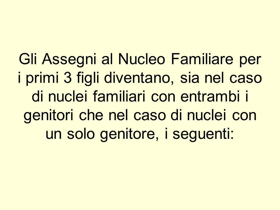Gli Assegni al Nucleo Familiare per i primi 3 figli diventano, sia nel caso di nuclei familiari con entrambi i genitori che nel caso di nuclei con un solo genitore, i seguenti:
