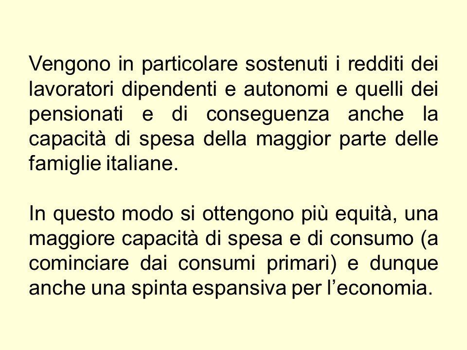 Vengono in particolare sostenuti i redditi dei lavoratori dipendenti e autonomi e quelli dei pensionati e di conseguenza anche la capacità di spesa della maggior parte delle famiglie italiane.