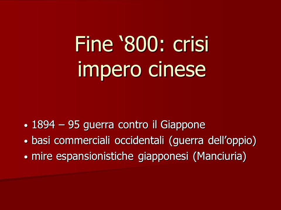 Fine '800: crisi impero cinese 1894 – 95 guerra contro il Giappone 1894 – 95 guerra contro il Giappone basi commerciali occidentali (guerra dell'oppio
