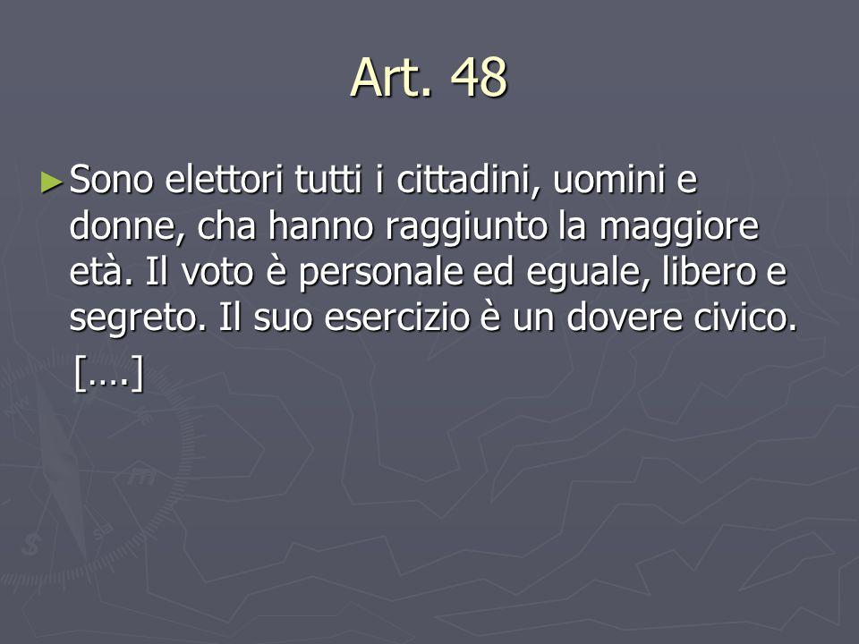 Art. 48 ► Sono elettori tutti i cittadini, uomini e donne, cha hanno raggiunto la maggiore età. Il voto è personale ed eguale, libero e segreto. Il su