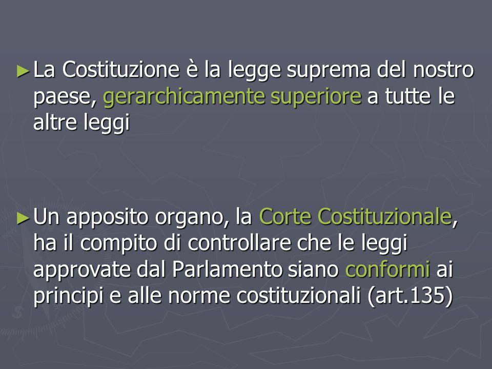 ► La Costituzione è la legge suprema del nostro paese, gerarchicamente superiore a tutte le altre leggi ► Un apposito organo, la Corte Costituzionale,